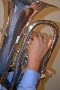 euphonium with flat fingers