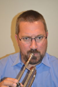 Trumpet with misplaced mouthpiece