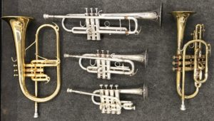 Various instruments related to trumpet