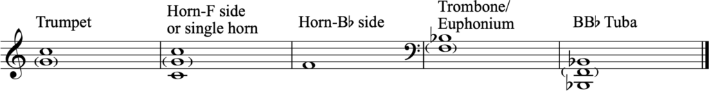 Preferred tuning pitches for brass instruments